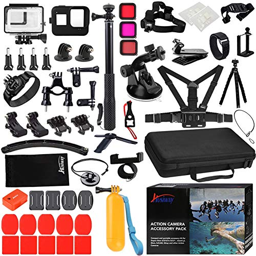 Husiway Action Camera Accessories Kit for Gopro Hero 8 Black Waterproof Housing Silicone Case Glass Screen Protector are Compatible with Gopro8 Hero8 62D (Kit for Gopro 8 Black)