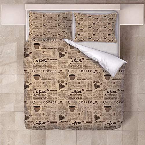 Jior Home Art beddengoed, 3-delig, 1 dekbedovertrek topper 2 kussenslopen, ademend, anti-mijt, geschikt voor mensen met een allergie, ideaal voor kinderen, tieners, slaapkamers en koffie