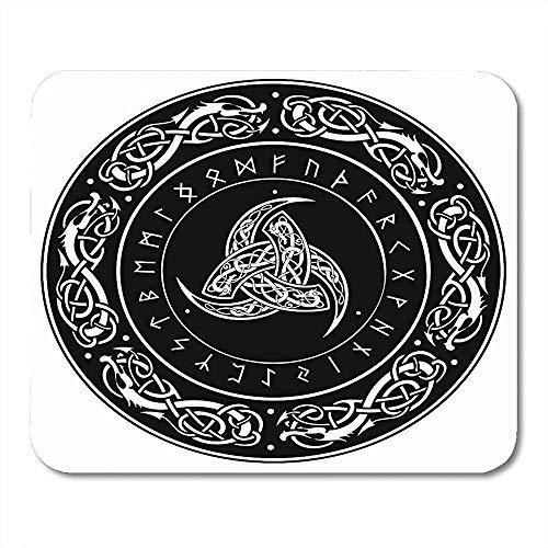 Mousepad Gothic Triple Horn Von Odin Verzierte Skandinavische Ornamente Und Runen Nordisches Amulett Mauspad 25X30Cm