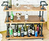 DOFURNILIM Industrial Bar Carts/Serving Carts/Kitchen Carts/Wine Rack Carts on Wheels with Storage - Industrial Rolling Carts - Wine Tea Liquor Shelves/Holder - Solid Wood and Metal Home Furniture