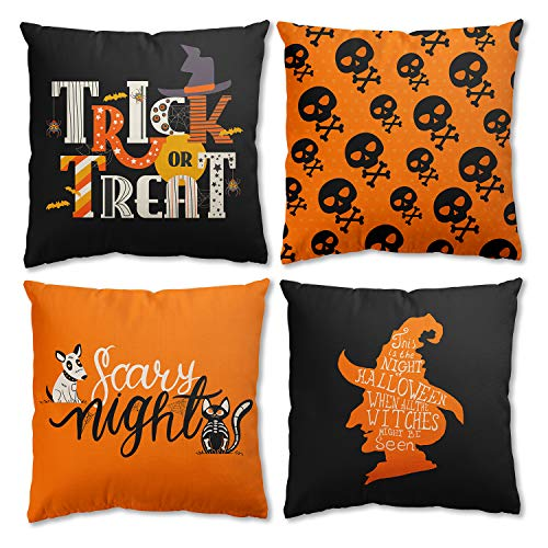 ORTIGIA Set of 4 Halloween Throw Pillow Cover Decorative Trick Or Treat Witch Cat Scary Night Funny Human Skeleton Autumn Pillowcase Farmhouse Linen 18x18 Inch for Couch,Home Patio Sofa