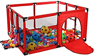 Playpens Large Indoor Portable Baby with Football Box  Door and Mat  Safety Play Yard Folded Boys Girls Activity Center Area Fence  120 100 62cm  Color RED