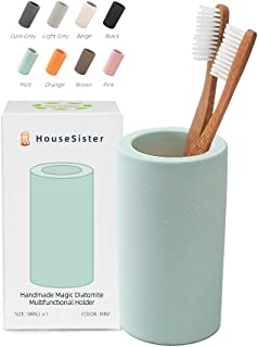 HouseSister Organic Diatomite Toothbrush Toothpaste Makeup Brushes Razors Holder Bathroom Countertop Organizer Stand Cup O...