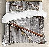 HSBZLH Funda De Edredón Gris Juego Funda Nórdica Rústica 3 Piezas Puerta Granero Madera Envejecida con Cerraduras Cruzadas Oxidadas Ropa Cama Diseño Granja Occidental Abandonada con 2 Fundas Almohada