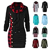 FIRERO Pullover for Women Hooded Drawstring Bodycon Long Sleeve Mid Hoodie Dress Sweatshirt with Pockets(A-Black,Large)