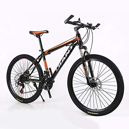 26 Inch Unfoldable Bicycle Mountain Bike, Steel 21Speed Bike Double Disc Brake, Men Women for Outdoor/Working/Hiking (Orange)