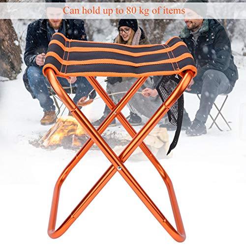 FOLOSAFENAR Silla Plegable de Camping Duradera, para Barbacoa de Camping Que viaja con una Bolsa de Almacenamiento(Orange Black, 28 * 24 * 22CM)
