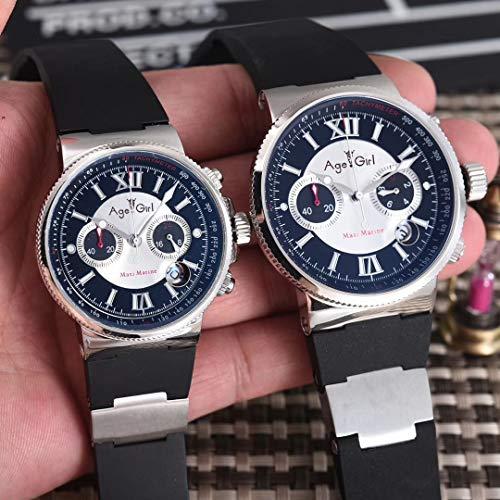 LESHARED Men Womens Chronograaf Zilver Zwart Blauw Beperkt Zilver Rubber RVS Horloges Lichtgevende Waterdichte AAA+