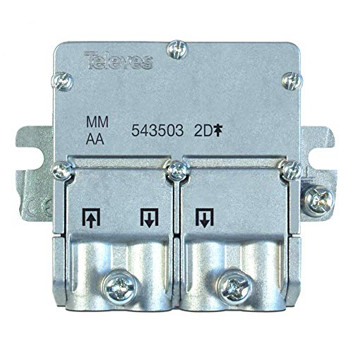 Televes 543503 - Mini splitter EasyF 2D, da 5-2.400 MHz, 4,3/4 dB