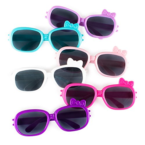 Super Z Outlet Plastic Color Assorted Round Style Girl Bow Children Sunglasses Shades Eye Wear for Party Prop Favors, Decorations, Toy Gifts (12 Pairs)