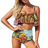 Bikini Lindo dinosaurios traje de baño para las mujeres traje de baño de dos piezas Viaje cintura alta Volantes Strappy Halter Bikini Set