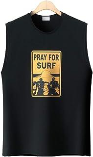 メンズ Surf コットン クルーネック ノースリーブ カジュアル タンクトップ ルーズフィットトレーニングウェア NS15