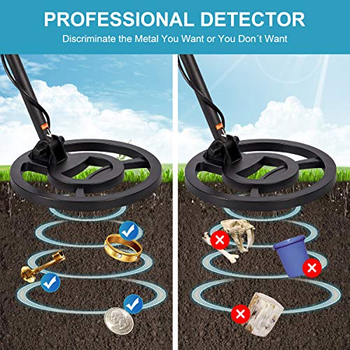 """Homedex Professional Metal Detector for Adults & Kids,High Accuracy Gold & Sliver Metal Detectors with Adjustable Stem,10"""" Waterproof Search Coil,LCD Display with 3 Modes"""