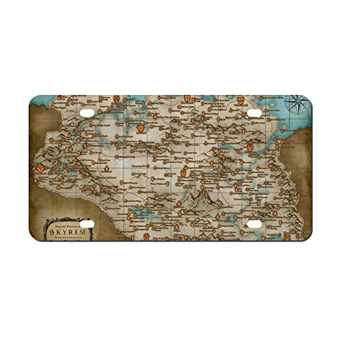 Map (Skyrim) Locations Front Vanity Plate,Aluminum Car Tag Holder,Licesen Plate Frame,Auto Accessory Gifts
