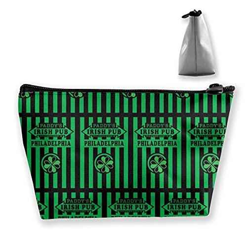 Bolsa de cosméticos para maquillaje, organizador de artículos de tocador, estuche para lápices, siempre es soleado en el pub irlandés de Philadelphia Paddy's verde, negro