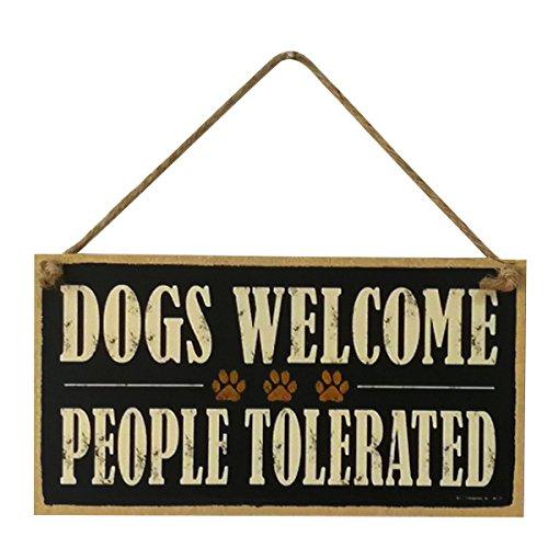 """Vorcool - Targhetta decorativa con scritta """"Dogs welcome, people tolerated"""", in legno"""