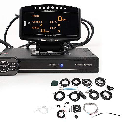 KIMISS 10-en-1 Medidor de coche multifunción, ABS Medidor de coche Voltios Prensa de aceite Relación aire/combustible RPM Presión de combustible Aumento de la temperatura de escape Pantalla
