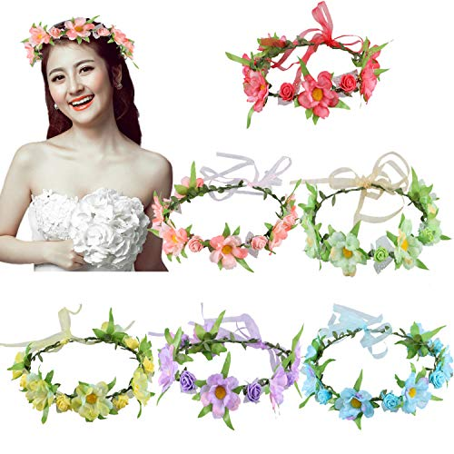 6Pcs Adjustable Floral Headbands with Elastic Ribbon Flowers Crown Garland Women Girls Teens Headpiece for Party Wedding Beach Festival