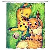 Duschvorhänge Pokémon Pikachu Waschbar Badvorhänge aus Polyester, Wasserdicht Anti-Schimmel, Anti-Bakteriell mit 12 Duschvorhangringe Design, 79x79 inches