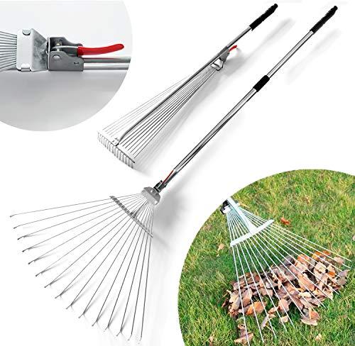 DVCOM 63 inch Adjustable Garden Rake for Leaf - Collect...