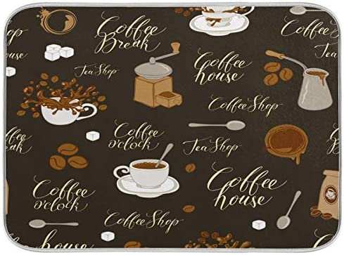 Brown Tea Coffee O clock Beans Dish Drying Mat 18 X 24 Inch Spoons Sugar Drink Shop House Cups product image