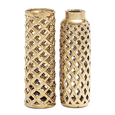 Deco 79 92555 Ceramic Vase 2 Assorted 4 W, 12 H