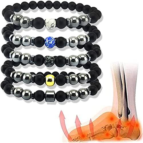Sekmorpo Pulsera de cuentas de obsidiana negra antiinflamable, pulsera ajustable, tobillera negra, pulsera de piedra natural, regalo de joyería para hombres y mujeres (5 unidades)