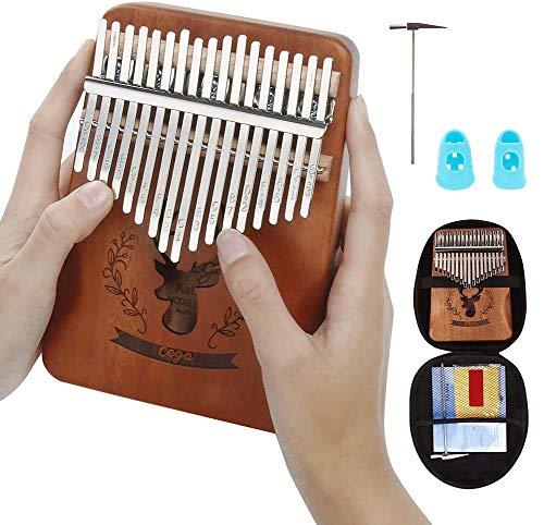 RZiioo Kalimba 17 teclas, pulgar portátil Piano Acacia Mbira Instrumentos de dedo Con Martillo afinador Bolsa de Piano Instrucción de estudio, Regalo de Navidad para niños principiantes