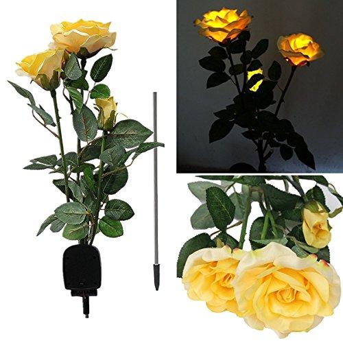 Bluelover 1 X Solar Power 3 LED Rose Flower Light Outdoor Garden Yard Lawn Décor-Yellow