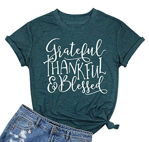 FAYALEQ Grateful Thankful Blessed Graphic T-Shirt Funny Blouse Thanksgiving Short Sleeve Tops Tee Size M (Green)