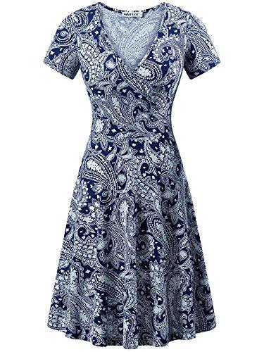 MSBASIC 90s Dress, Floral Skater Dress Summer Swing Dresses for Women Cashew Flowers XL
