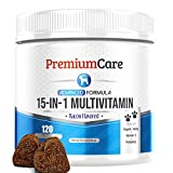15 in 1 Dog Multivitamin - Made in USA - Essential Dog Vitamins with Hemp, Probiotics, Omega 3 for Dogs - Brain, Heart & Immune Health Treats - 120 Count