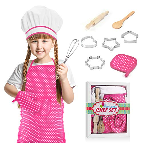 LET'S GO! Gifts for Girls Age 3-8, Girls Cooking and Baking Sets Toys for Kids Girls 3-7 Year Old Kids Aprons for Girls for Kids for Girls Gifts 3-7 Year Old, Pink