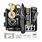 SPUNKER Survival Gear - 15 in 1 Emergency Backpack Survival Kit - Survival Tool for Camping, Hiking, Hunting,...