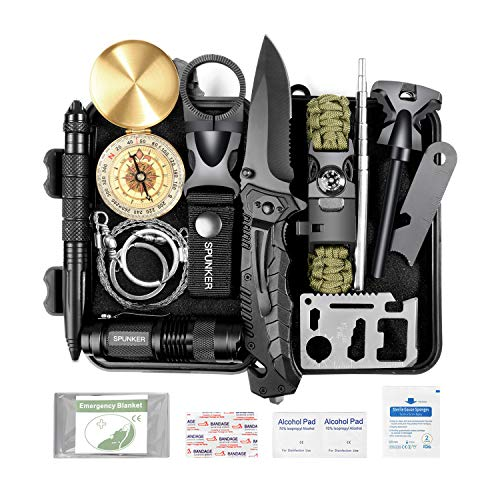 SPUNKER Survival Gear - 15 in 1 Emergency Backpack Survival Kit - Survival Tool for Camping, Hiking, Hunting, Fishing - Gifts for Men Dad Husband Boyfriend Teen Boy