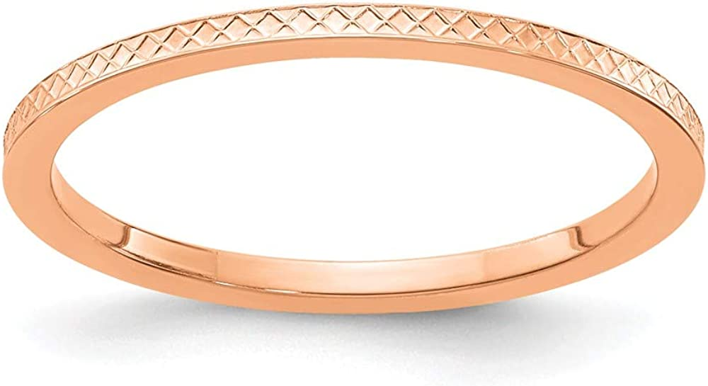 Solid 14K Rose Gold 1.2mm Criss-Cross Pattern Stackable Band Thin Wedding Anniversary Ring