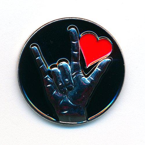 Liebe Love Herz Badge Rockabilly Gothic - Edel Metall Button Pin Anstecker 0158