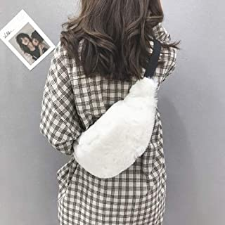 Fashion Single-Shoulder Bags Leisure Fashion Plush Shoulder Bag Messenger Bag Waist Pack (Black) (Color : White)