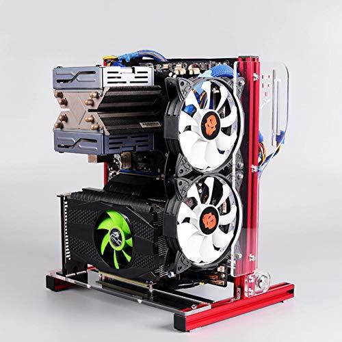 Offenes PC Gehäuse, ATX/M-ATX/ITX Gehäuse mit offenem Gehäuse für vertikale Übertaktungstests, DIY Gehäuse mit offenem Rack und Griff, 20x20 Aluminiumprofil(rot)