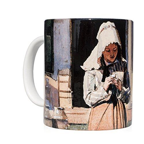 Taza mug desayuno de cerámica blanca 32 cl. con impresión de obra...