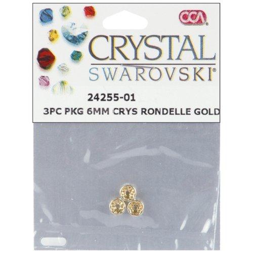 Swarovski Crystal Spacer Beads Rondelle 6mm 3/Pkg-Gold