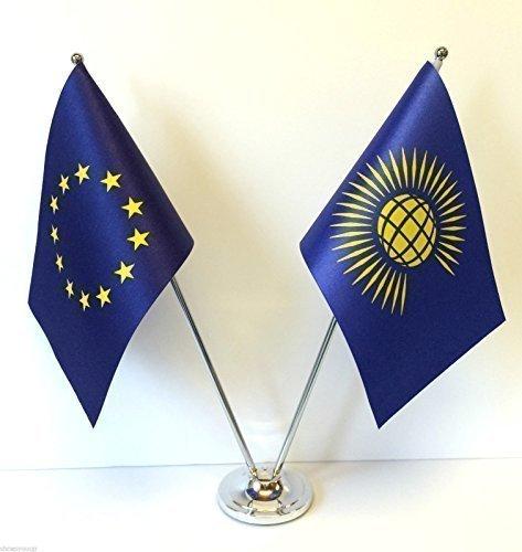 Unión europea UE y la Commonwealth Diseño de banderas de países cromo y de escritorio juego de banderines