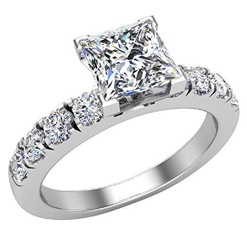 Anillos de compromiso para mujer – diamante de corte princesa oro blanco de 18 quilates 0,70 quilates (G, I1) certificado GIA (tamaño del anillo 7,5)