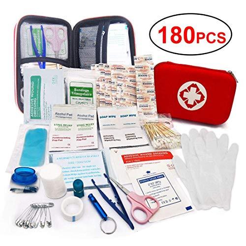 LISOPO 180pcs Erste-Hilfe Set Mini First Aid Kit Medizinisch Überlebens Kompakt Kit für Zuhause Auto Reisen Camping und Outdoor