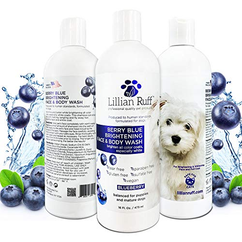 Lillian Ruff Berry Blue Brightening Face and Body Wash for Dogs and Cats - Tear Free Blueberry...
