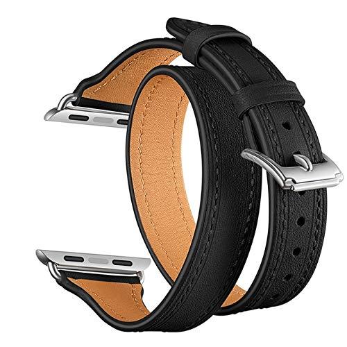 MOODER Correa de piel auténtica de 44 mm, 40 mm, compatible con Apple Watch Series 5 4 3 2 1, correa de cuero doble, correa de reloj para mujer, 38 mm, 42 mm