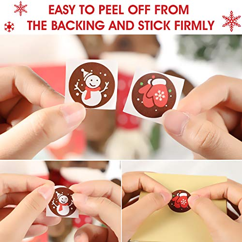 6 Rolls 3000 Pieces Christmas Stickers Round Adhesive Labels Xmas Decorative Stickers Christmas Stickers Labels Roll 1 Inch 48 Designs for Cards Envelopes Boxes Photo #3