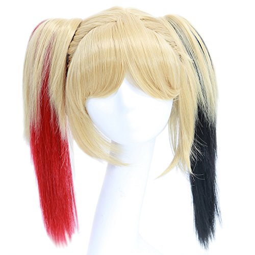Xcoser Halloween Cosplay Costume Perruque Yellow Short Straight Cheveux Whit Double Ponytail for Girls
