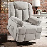 Electric Lift Recliner Chair, Power Heated Massage Reclining Sofa Chairs with Remote Control, Heated System, Lift System, Adjustable Headrest, Extended Legrest and Side Pocket for Elderly, Beige