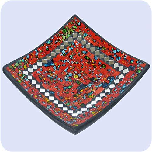 Simandra Mosaikschale Tonschale Glasschale Dekoschale Mosaik Kunsthandwerk Glassteine Deko Quadrat Spiegel Mini Farbe Rot